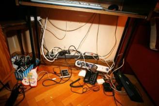 cables under computer desk