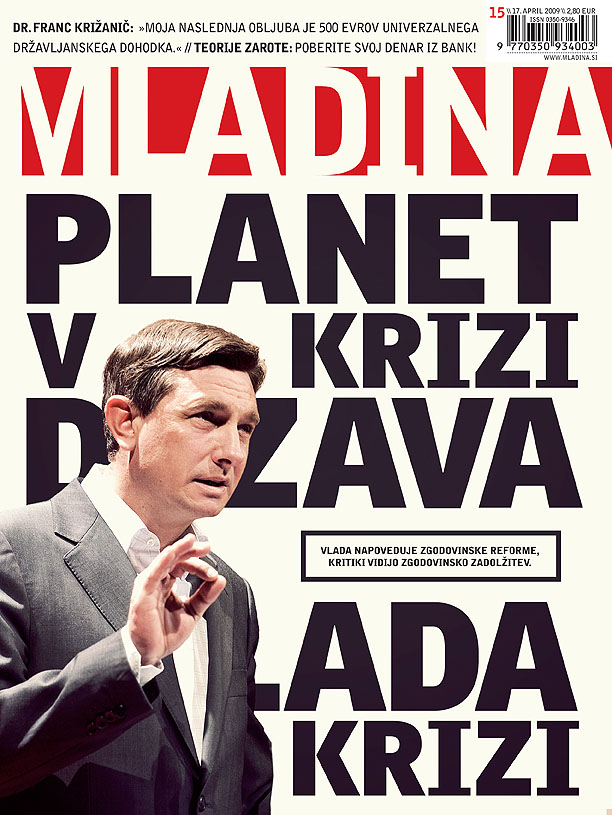 Cover page of Mladina weekly 15_2009. Creative director Robert Botteri, Graphic design Ivian Kan Mujezinović, photography Borut Peterlin