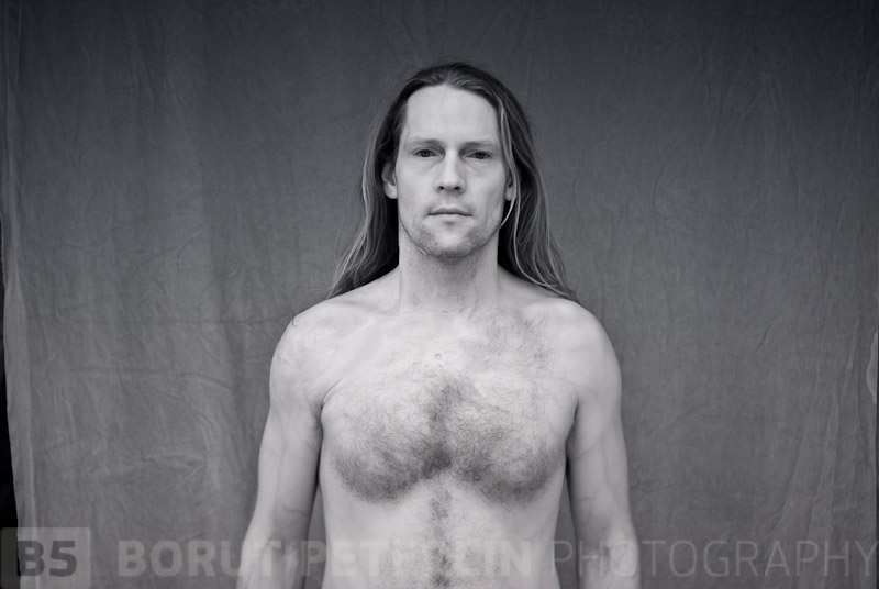 Self-portrait taken with Pentax K-200, transformed so it records infrared specter of light.