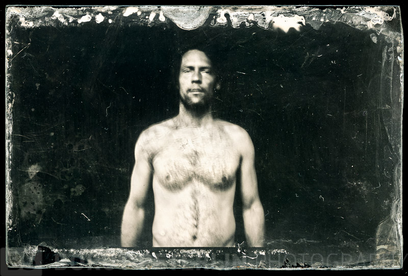 Slef-portrait taken with Folding Brownie and wet plate collodion.