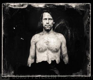 "Self-portrait taken with ShenHao 4x5"" camera and wet plate collodion."