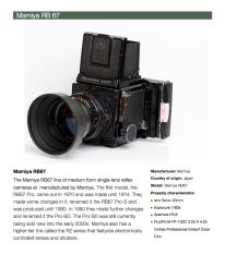 A description list of the camera and medium on which the photograph was taken.