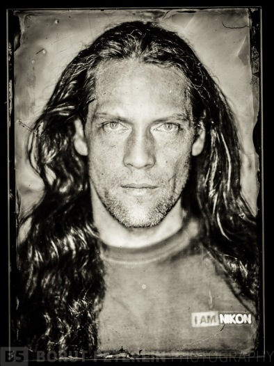 """A self-portrait. Misa Keskenovic came up with his own formula for wet plate collodion negative and I've made a set up with my about 7000Ws studio flashes, Plaubel 5x7"""" camera and voigtlander Helliar 300mm f/4,5."""