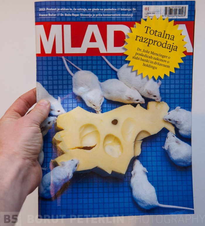 I'm proud to present few publications that are wearing my photograph as a cover. Last week Mladina weekly had the main article about how Slovenian government is planning to sold out all assets that the Republic of Slovenia still owns in a very non-transparent way. Shape of the cheese is represanting the shape of Republic Slovenia.
