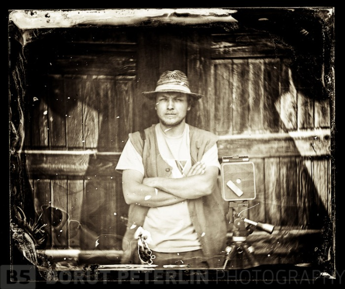 "Elvis Halilović, portrayed with my ShenHao 4x5"" camera on wet plate collodion process"