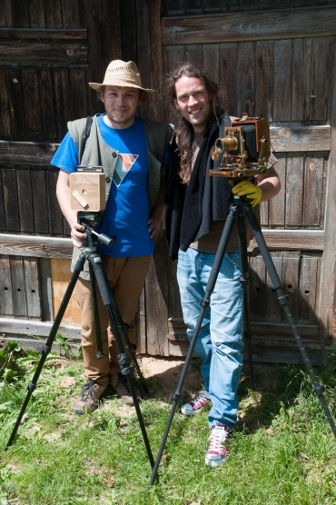 "Elvis Halilović an industrial designer and his camera obscura product and Borut Peterlin with his 4x5"" camera and Petzval lens."