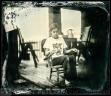 Lučka sitting on a rockingchair.