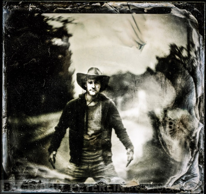 "Portrait taken on 4x5"" camera with petzval lens, exposed on wet plate collodion plate. This is retouched version, I retouched his face from the film negative I've recorded."