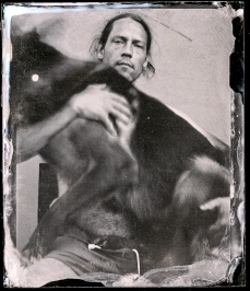 A self portrait with a dog.