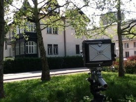 "Photographing the house with 5x7"" Plaubel camera and Rodenstock 210 lens. I've tilted lens board and back, to have perfect lines."