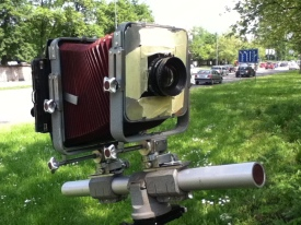"""Photographing the house with 5x7"""" Plaubel camera and Rodenstock 210 lens. I've tilted lens board and back, to have perfect lines."""