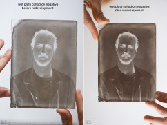 Wet Plate Collodion negative before and after redevelopment.