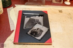 A collodion transfer to the cover of a sketch book