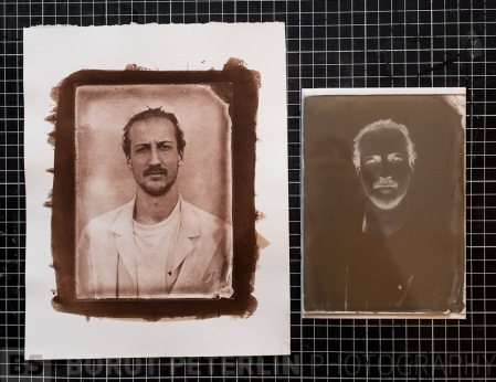 A salt print portrait from a redeveloped wet plate negative.