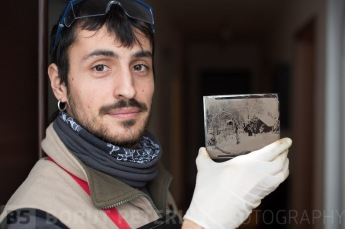 Markele with his very first wet plate collodion plate