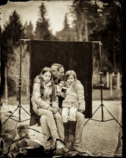 "A selfportrait with my daughters. Done in wet plate collodion negative, format 8x10"". Assistant Markele Zid"