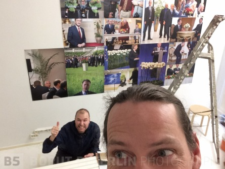 Hanging the exhibition with Petri.