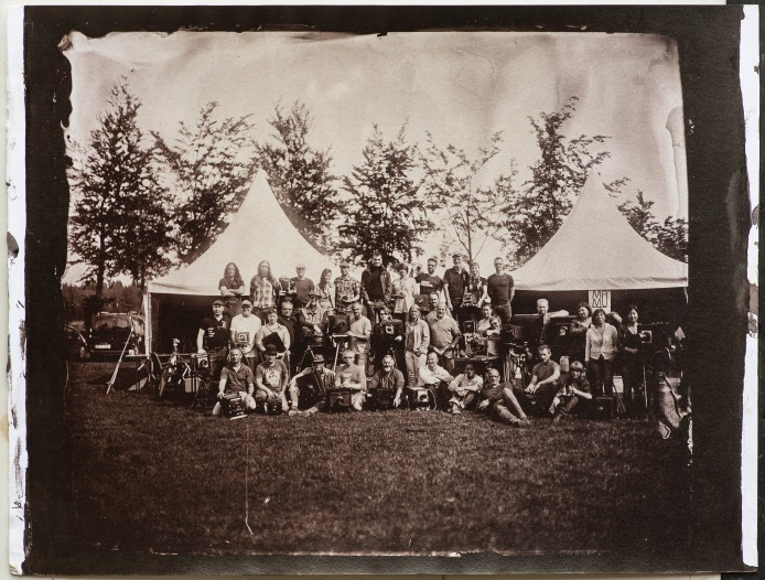"An albumen print toned with gold from a 10x12"" wet plate collodion negative of a group of collodion artists at European Collodion Weekend in Eindhoven, NL."