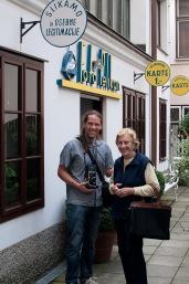 Borut Peterlin and Božena Pelikan in front of Studio Pelikan