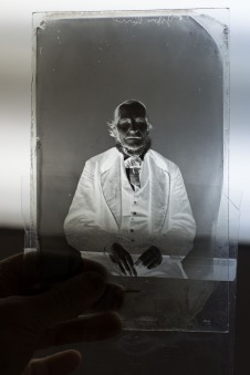 Mark Osterman is showing us a retouched historical wet plate collodion negative.