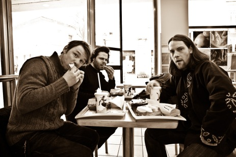 Jure Breceljnik, Jean-Christophe Couet and Borut Peterlin in McDonalds in MB.