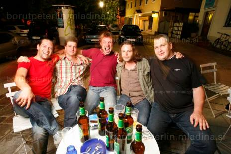 Borut Peterlin, Luka Dekleva, Jure Breceljnik JeanChritof Couet and Stepo Draèa - a FAMU student reunion - Slovenian massive 1994-1998 at SAX pub in Ljubljana.