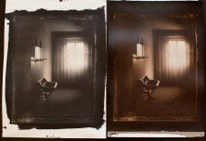 "A salt print and albumen print from 8x10"" collodion negative."