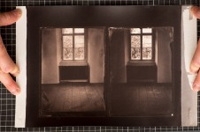 An albumen print of two collodion negatives with different contrasts.