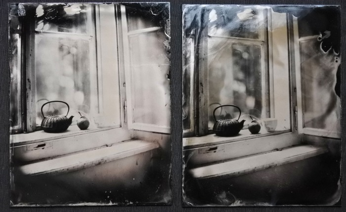 Plate on the left was normaly exposed (5 seconds) and normaly developed (18 seconds), plate on the right was exyposed for 10 seconds and developed for only 8 seconds.